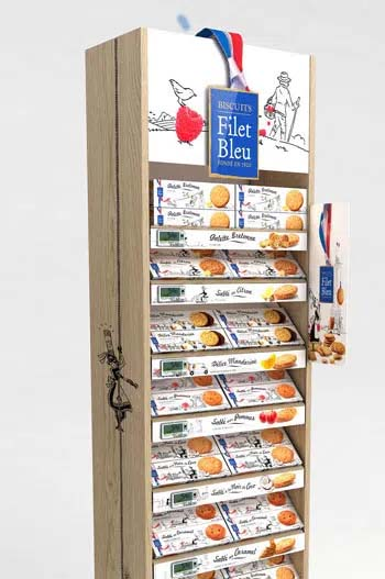 Wooden sidekick display for biscuits brand