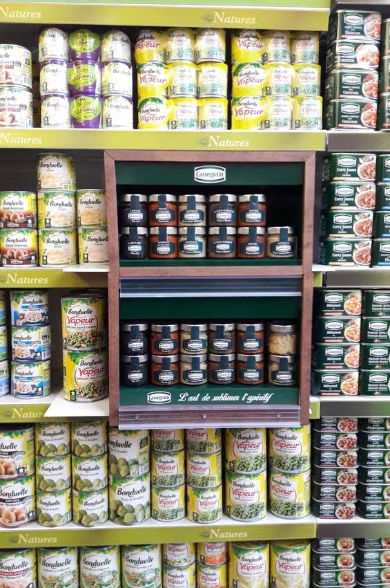 On-shelf unit for canned vegetables
