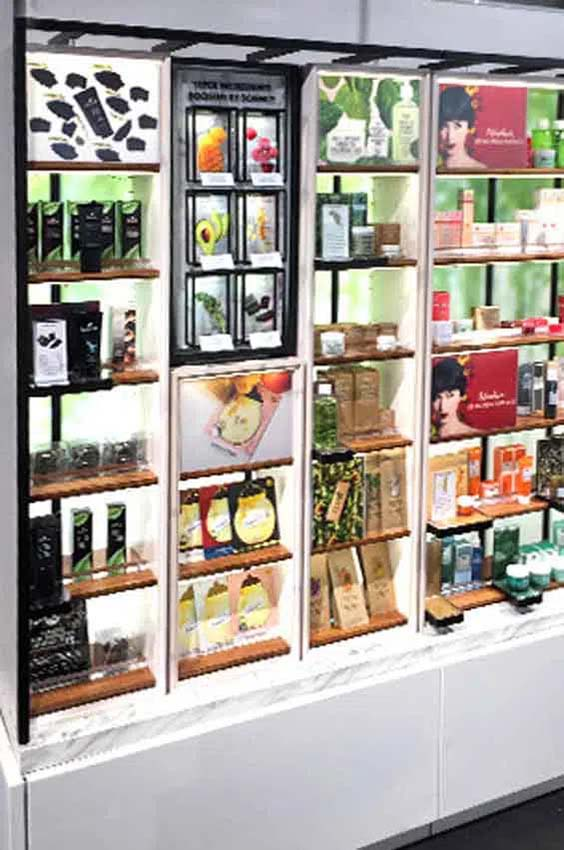 Ecodesign shelving for super-ingredients private label Sephora