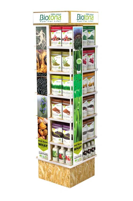 Custom made wooden carousel display for superfoods brand Biotona